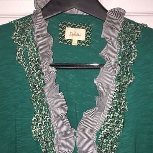 Anthropologie Deletta green 3/4 length sleeve top